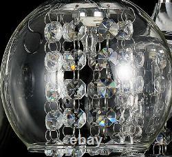 Charmant Lustre Cristal Led Lustre Plafonnier Lumière 5flamme Boule De Verre Lustre 54cm