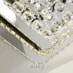Chrome Cristal Brillant Plafond Lumière Led Chandelier Lampe Mont Living Chambre Royaume-uni