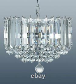 Clarence Moderne 5 Plafond Lustre Lustre, Finition Chrome Cristal Acrylique