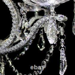 Classic Crystal & Glass Chandelier Chrome Fini 5 Lumière Plafonnier Lampe