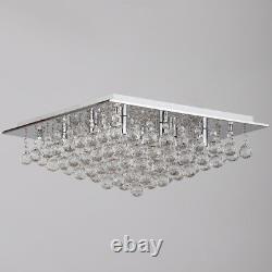 Crystal Effet Plafond 8 Light Flush Mount Square G9 Montage Dans Chrome Litecraft
