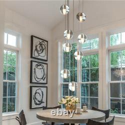 Crystal Glass Globe Chandelier Staircase Lighting Ceiling Light Led Fixture Lamp