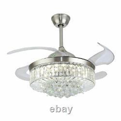 Crystal Invisible Ventilateur Plafond Lumière Moderne Remote Led 3 Couleurs Changer Chandelier