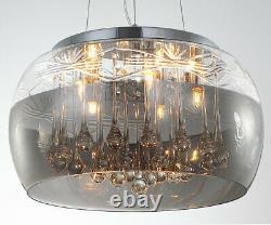 D40cm Led Cristal Lampe De Verre Nuance Lustre Plafond Pendentif De Lumière Réglable