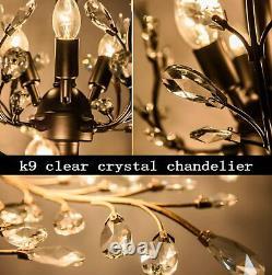 Décoration En Cristal Lampe Pendentif Chandelier E14 Moderne 8 Lumières Plafond Éclairage