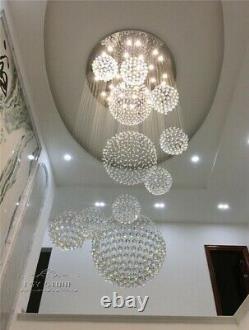 Dia80cm Modern Large Crystal Chandelier Lighting Raindrop Ceiling Lamp Remote