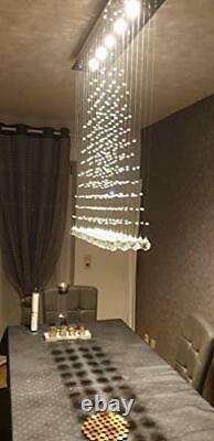 Dst Crystal Lustres De Plafond Lustres, Modernes Chandeliers À Gouttes Rectangulaires
