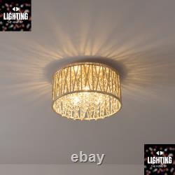 Emilia Design Crystal Drum Flush Ceiling Light, Or Rrp £175