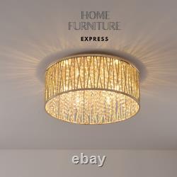 Emilia Design Large Crystal Drum Flush Ceiling Light 48 Cm, Or Rrp £295