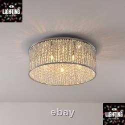 Emilia Design Large Crystal Drum Flush Plafond Light Chrome 48cm Rrp £275