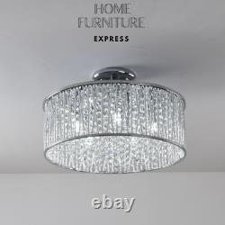 Emilia Design Large Crystal Drum Semi Flush Plafond Light Chrome Rrp £295