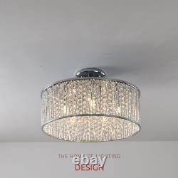 Emilia Design Large Crystal Drum Semi Flush Plafond Lumière Chrome Prc £295