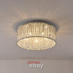 Emilia Large Crystal Drum Plafond À Chasse D'eau Light Chrome Rrp £295