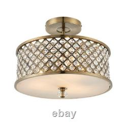 Endon 70558 Hudson 3 Light Semi Flush Plafond En Laiton Et Cristal