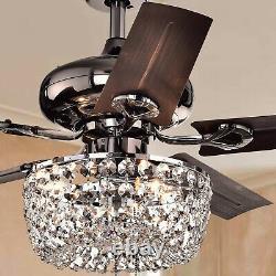 Eventail De Plafond Brun De 43 Pouces Pour Chandelier En Cristal 3-light -pull Chain