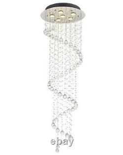 Fashion Long Spiral Crystal Droplet 156cm High Ceiling Light Pendentif Chandelier