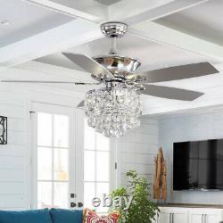 Feux De Plafond En Cristal De 52'' De Luxe Avec Télécommande 5 Lames