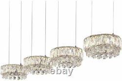 Globo Luxe Led K9 Crystals Chrome 4 Lumières Plafond Pendentif Lampe Suspendue