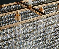 Gold Rectangle Island Crystal Chandelier Pendentif Lighting Ceiling Lumière Moderne
