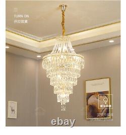 Grand Salon Lustre Pendentif Lumière Led Cristal Variable Lampe De Plafond