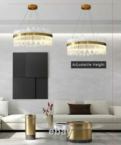 Grande Ronde Cristal Chandelier Post Moderne Halo Design Cristal Lumière Plafond Led
