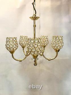 Halogen Plaqué Or Classique Plafond 5 Lumière Montage Chandelier Lead Lampe En Cristal