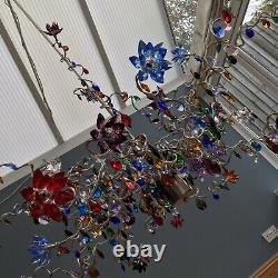 Harco Plafond Plafond Lumière Lustre Énormes Fleurs En Cristal X 27 Gouttes Art Moderne