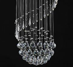 Lampe De Plafond À Goutte En Cristal Lustre Forme Spirale Légère Design 30x80cm Iderum