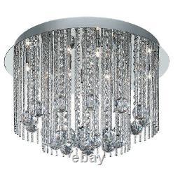 Lampe De Recherche 8 Lumières Moderne Chrome Cristal Montage Plafond Lustre Lumière Nouveau