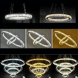 Lampe Pendentif Moderne De Lustre De Cristal De Led 1 2 3 4 Anneau Dimmable