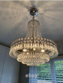 Laura Ashley Clair Crystal Chandelier Plafond Lumière. État Immaculé