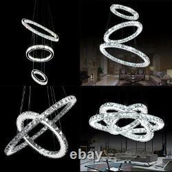 Led Circulaire Plafond Lumière Cristal Lustre Dimmable Lampes Suspendues Pendentif Royaume-uni