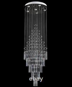 Led Cristal Pluie Goutte Plafonnier Lampe D'éclairage Escalier Lumière Villa Chandelier