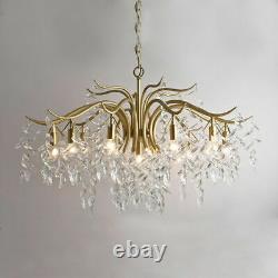 Led Crystal Chandelier Branche Plafond Lumière Salon Gold Pendent Lampe Nouveau