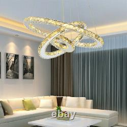 Led Crystal Chandelier Warm White 1/2/3 Round Ring Pendentif Light Ceiling Lamp Uk