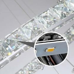 Led Moderne Cristal Lumière Ronde 1/2/3 Anneau Lampadaire Pendentif Lampadaire Plafonnier