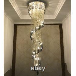 Led Perle De Cristal Plafonnier Lampe D'éclairage Lustre Pendentif D'escalier Lustres