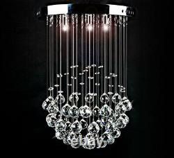 Led Plafonnier Lampe Verre Cristal Lustre Goutte À Goutte Lumière 30cm 3xg9 Denita