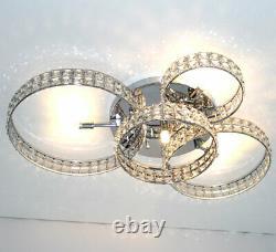 Led XL Lustre Cristal Lumière Plafonnier Bagues D'éclairage 75x50cm 4x3w G9 Ringara
