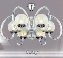 Led XXL Lustre Verre Design Plafonnier Lampe Paillettes Cristal Éclairage 74cm Grand