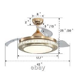Lumière De Plafond Cristal 42 Avec Télécommande 3 Led Couleur Dimmable 4 Lames