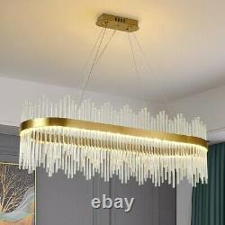 Lumière De Plafond Led Cristal Moderne Grande Lumière Ovale Cristal Lustre Longue Lumière Ovale