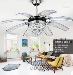 Luminaire De Plafond En Cristal Moderne Led Lustre De Contrôle À Distance Luminaire De Plafond