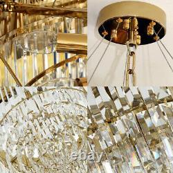 Lustre En Cristal D'or Moderne Plafond Lumière Pendentif Lustre Lampe