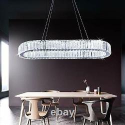 Lustre En Cristal Moderne, Plafond De Plafond À Conduit Ovale, Montage À Glissière En Acier Inoxydable