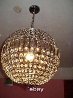 Lustre Grande Ursula Boule En Cristal Moderne Vivant Pendentif Plafond Lumière Bhs Nouveau