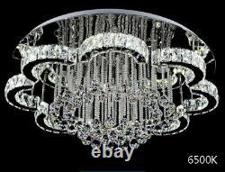 Lustre Moderne Cristal Verre Dimmable Led Plafond Lumière Avec Télécommande