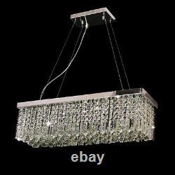 Lustre Rectangulaire 5 Lumières Pendent Lamp Clear Crystal&glass Ceiling Light Chandelier