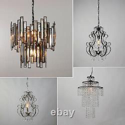 Lustre Style Moderne Plafond Lumière Shade Droplet Pendentif Crystal Bead Black