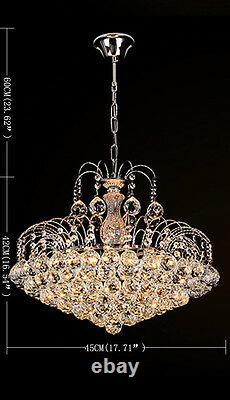 Lustres De Lumière De Plafond Chromés Argentés En Verre De Cristal De Luxe